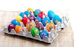 Easter eggs in carton Stock Photos