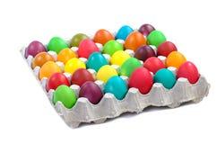 Easter eggs in carton Stock Photos