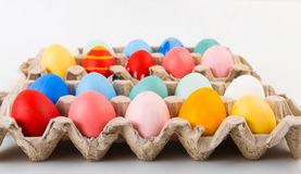 Easter eggs in a carton Royalty Free Stock Images
