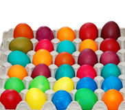 Easter eggs in carton Stock Images