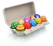 Easter eggs in a carton package Stock Photography