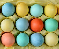 Easter Eggs in Carton With Tissue Paper Royalty Free Stock Photo