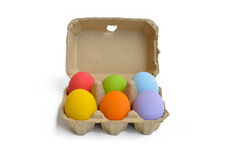 Easter eggs with cartoon box Stock Image