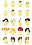 Easter Eggs Cartoon Character. Vector illustration off Easter Eggs Characters with different male and female faces Stock Image