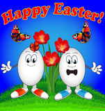 Easter eggs cartoon with flowers and butterflies Stock Images