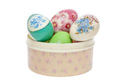 Easter eggs in a casket Stock Photography