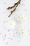 Easter - eggs and catkin. Stock Images
