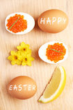 Easter eggs and caviar Royalty Free Stock Image