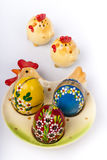 Easter eggs on ceramic plate. Chicken shape Royalty Free Stock Photography