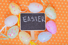 Easter eggs with chalkboard Royalty Free Stock Photo
