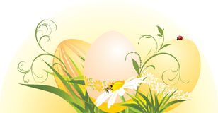 Easter eggs with chamomile and grass Royalty Free Stock Image