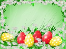 Easter eggs and chamomiles. stock photography