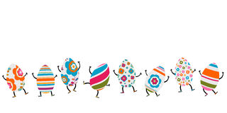 Easter eggs characters. Colorful cute easter eggs characters Stock Images