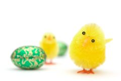 Easter eggs and chick Stock Image