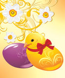 Easter eggs and chick on the ornamental background Royalty Free Stock Images