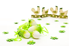 Easter eggs and chicken Royalty Free Stock Photo