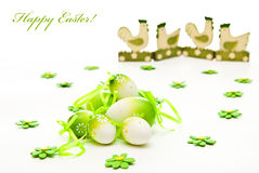 Easter eggs and chicken stock photography