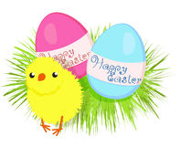 Easter eggs and a chicken Stock Photography