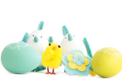 Easter eggs and chicken Stock Image