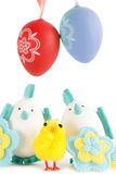 Easter eggs and chicken Royalty Free Stock Photos
