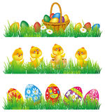 Easter eggs and chicken in grass Royalty Free Stock Photography