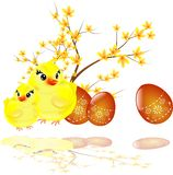 Easter eggs, chicken and laburnum. Illustration of two easter chicken with eggs and twig of laburnum Stock Photography