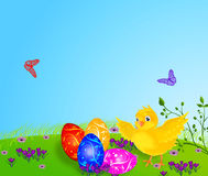 Easter eggs and chicken. Royalty Free Stock Photos
