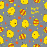 Easter eggs and chickens. Abstract seamless vector Stock Photography