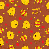 Easter eggs and chickens. Abstract seamless vector Stock Images