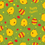 Easter eggs and chickens. Abstract seamless vector Royalty Free Stock Photo
