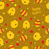 Easter eggs and chickens. Abstract seamless vector Royalty Free Stock Image