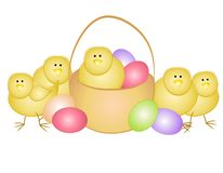 Easter Eggs and Chicks With Basket. A clip art illustration featuring a group of small yellow chicks with eggs and an Easter basket Royalty Free Stock Images