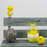 Easter eggs and chicks, in a bench Stock Photography
