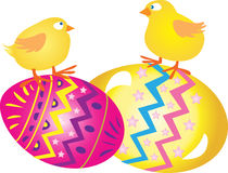 Easter eggs with Chicks. Two brightly colored decorated Easter eggs with Chicks Royalty Free Stock Image