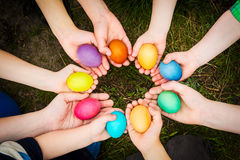 Easter eggs in child hands Royalty Free Stock Photos