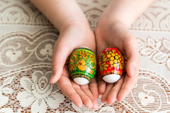 Easter eggs in the children's hands Stock Photography