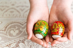 Easter eggs in the children's hands Stock Images