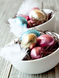 Easter Eggs of Chocolate in Colorful Wrappers Stock Images