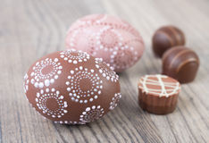 Easter eggs and chocolate truffle Royalty Free Stock Photo