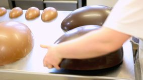 Easter eggs chocolate on worktop pastry stock video
