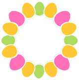 Colorful easter eggs. Easter eggs circle frame in vibrant colors. Vector Illustration Stock Image