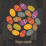 Easter eggs on wooden planks Stock Image