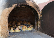 Easter eggs on the clay oven Stock Photo
