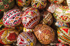 Easter eggs. Close-up of various traditional motifs on Easter eggs stock image