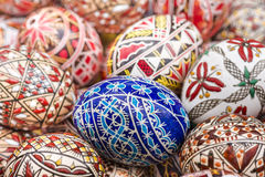 Easter eggs. Close-up of various traditional motifs on Easter eggs royalty free stock images