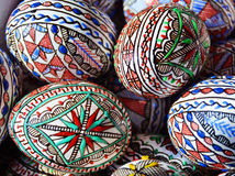 Easter eggs. Close up of various traditional painted romanian Easter eggs Royalty Free Stock Photos