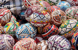 Easter eggs. Close up of various traditional painted romanian Easter eggs Royalty Free Stock Photography