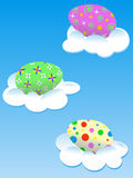 Easter eggs in the clouds. Vector illustration royalty free illustration