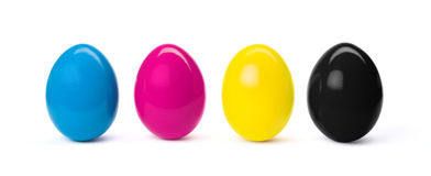 Easter eggs in CMYK. CMYK easter eggs isolated on white background Stock Images