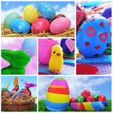 Easter eggs collage Royalty Free Stock Photos